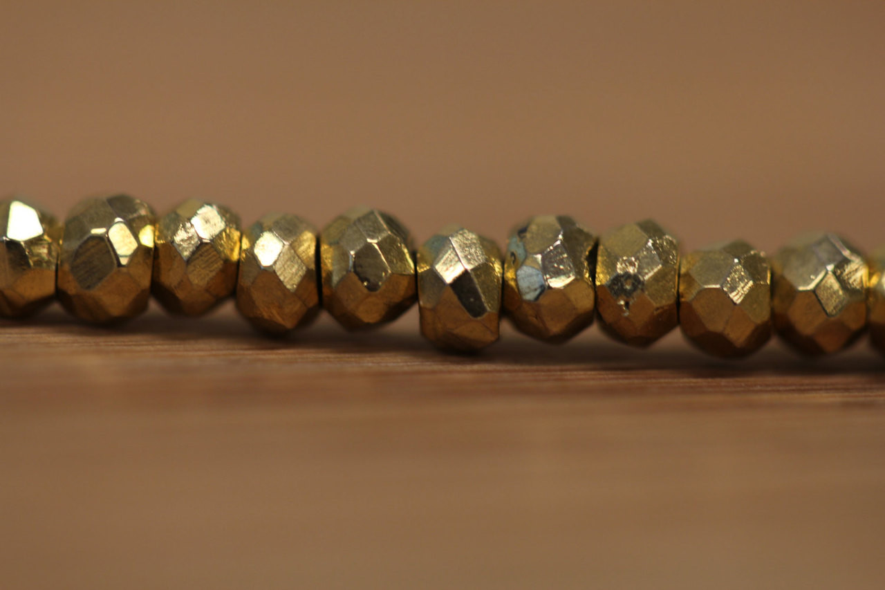 Faceted Gold Coated Pyrite Beads