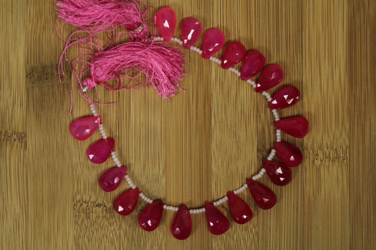 Pink Chalcedony Pear Shape Breads for Jewelry Making