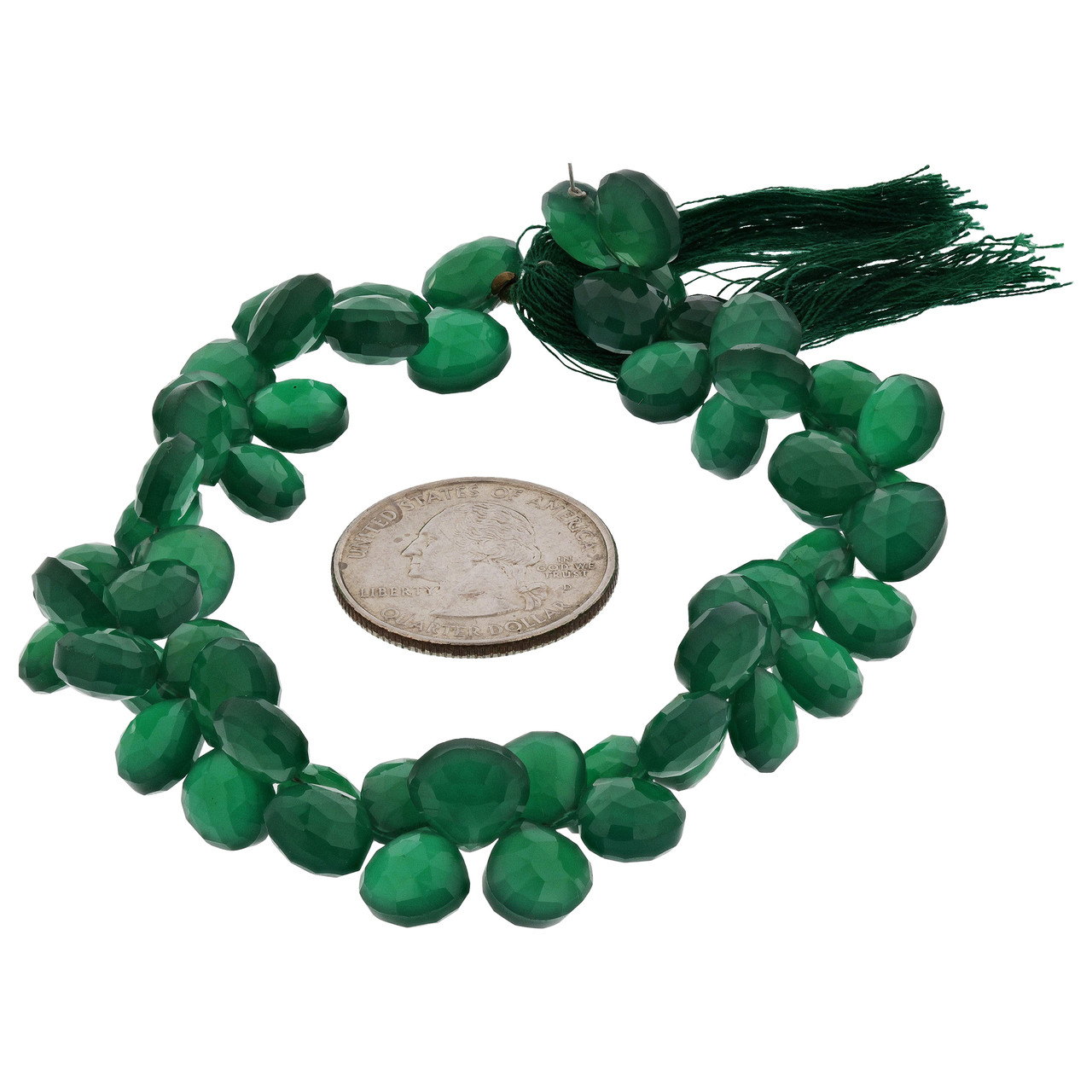 Faceted Green Onyx Pear Shape Beads