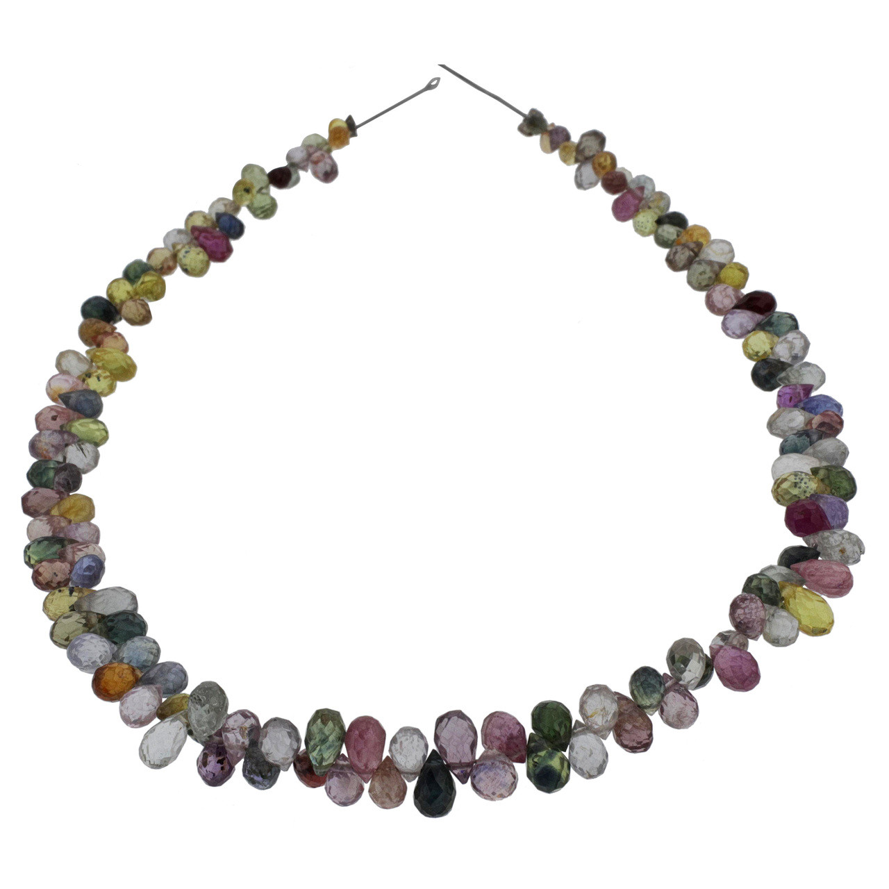 Multi-Colored Faceted Sapphire Teardrop Beads