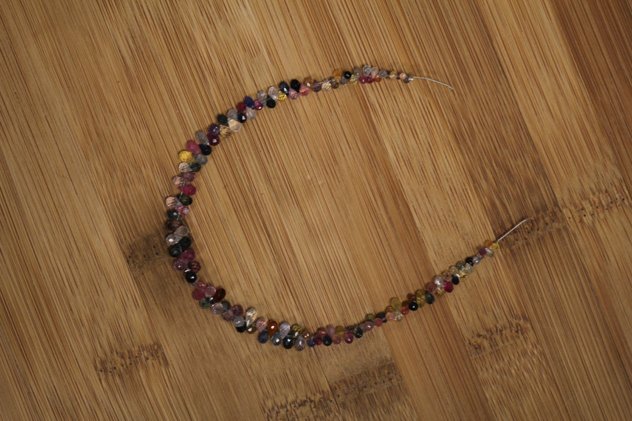 Multi-Colored Faceted Sapphire Teardrop Beads for Jewelry Making