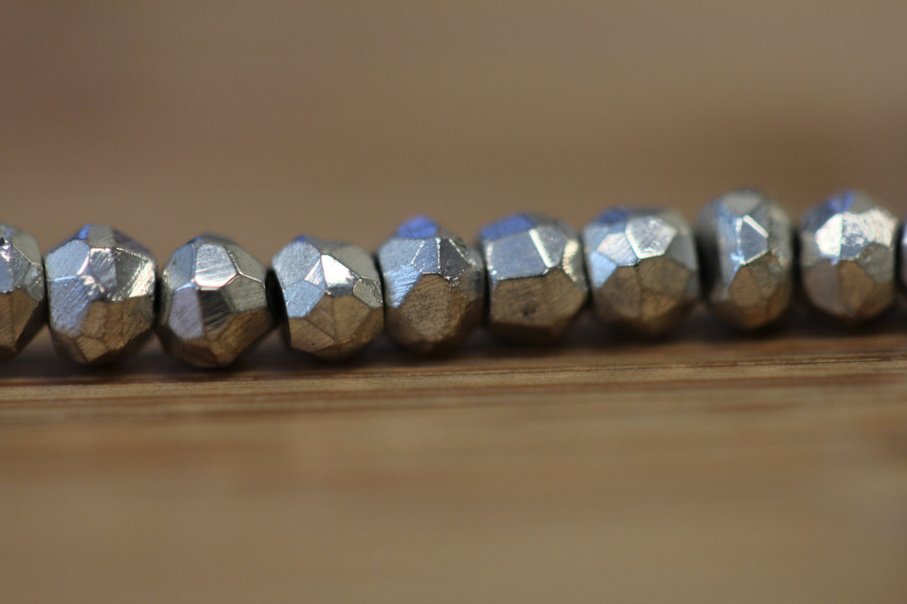 Faceted Silver Coated Pyrite Beads for Jewelry Making