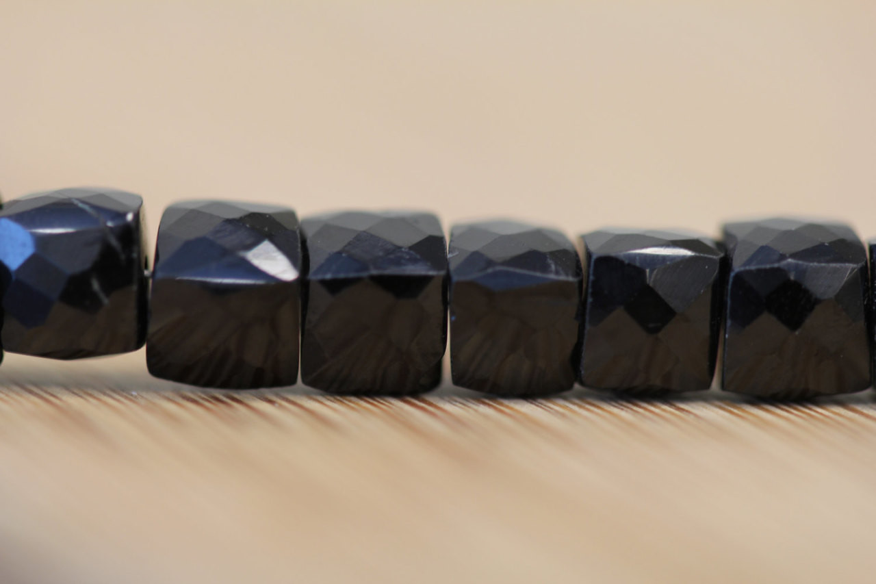Black Spinal Faceted Cube Cut Beads for Jewelry Making