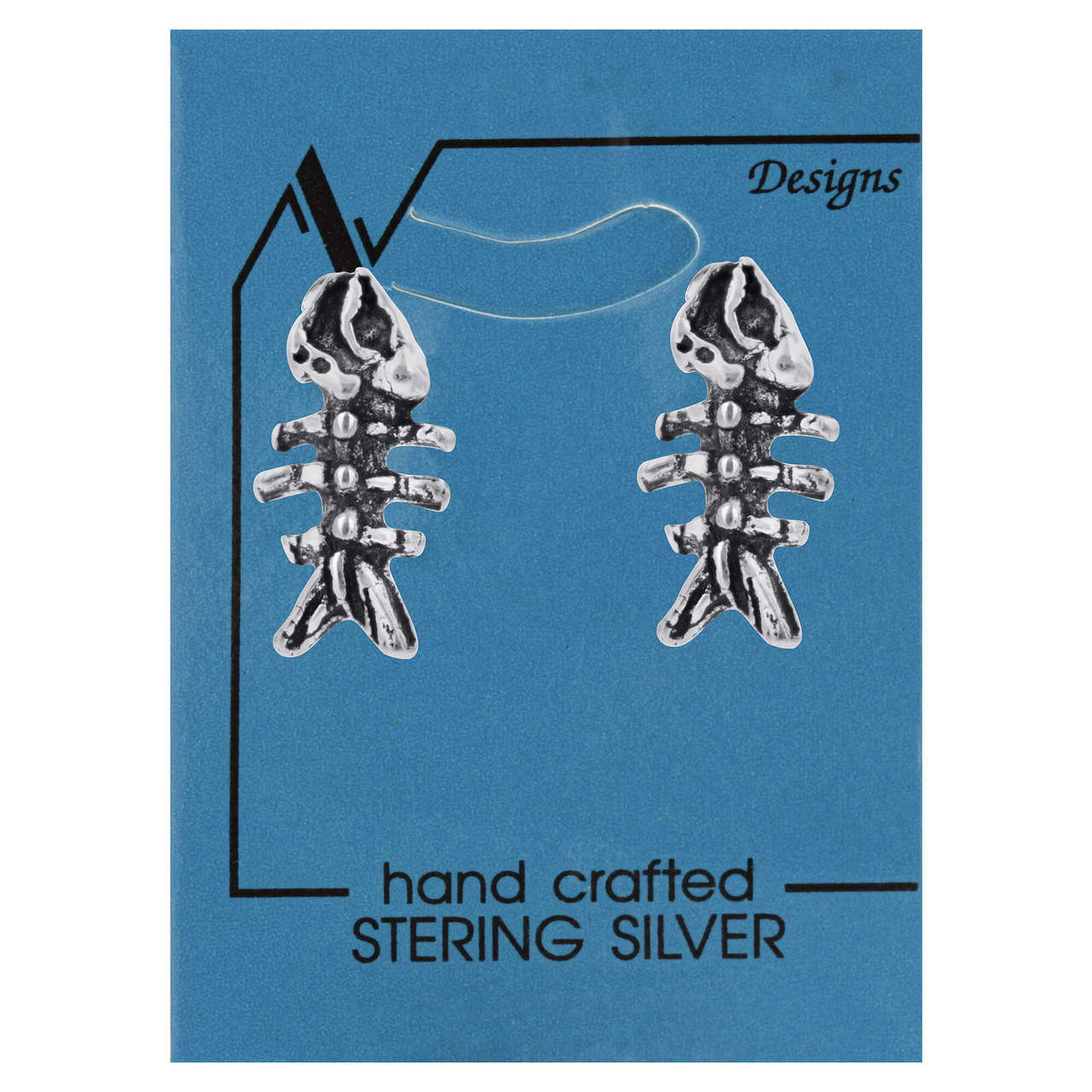 925 Sterling Silver Fish Bone Post back 9mm Stud Earrings