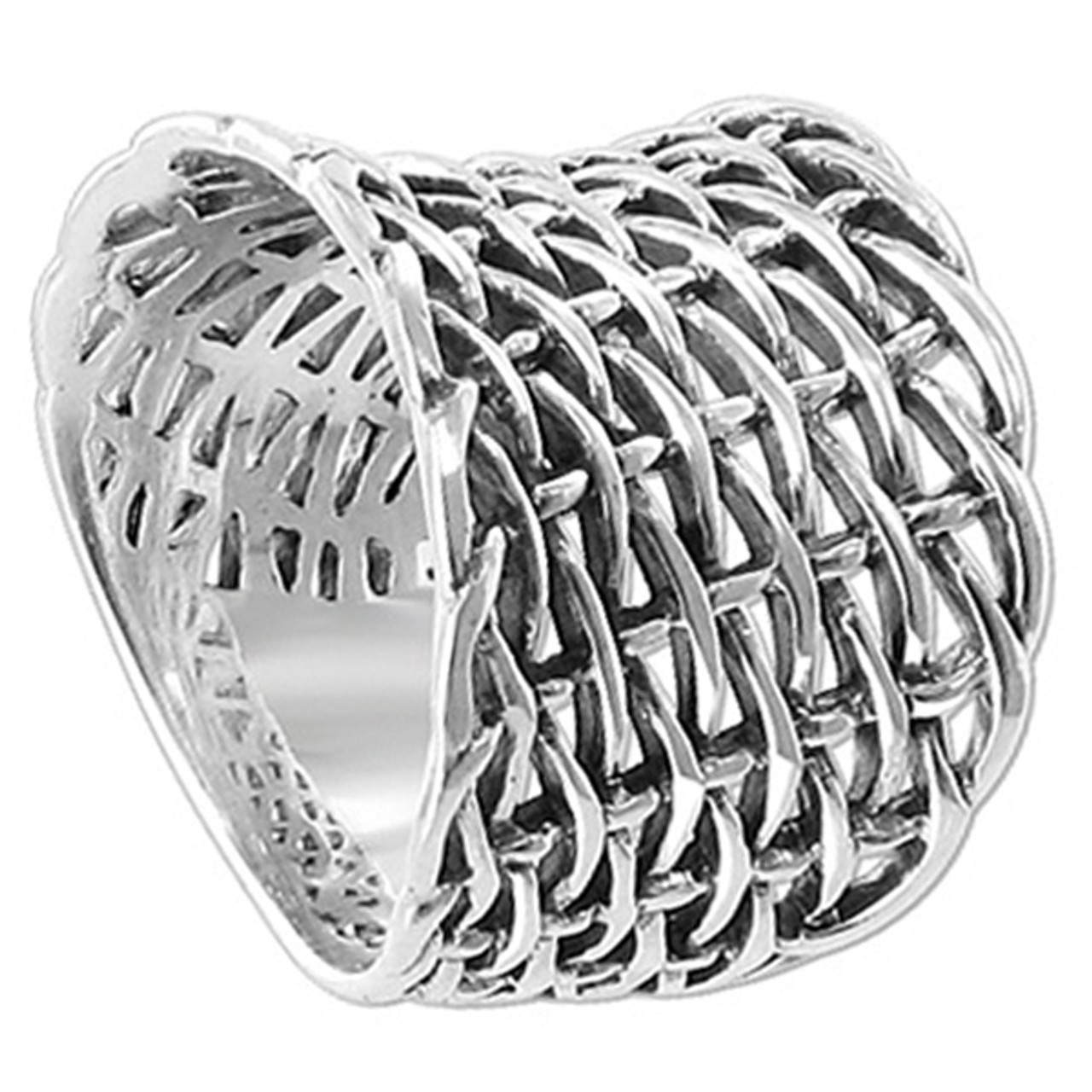0ba12fc2f8532 925 Plain Sterling Silver Convex Woven Braided Mesh Ring  LWRS121 ...