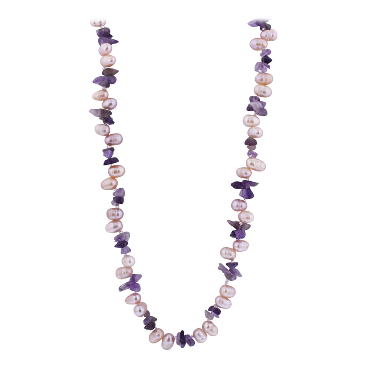 Nugget Pearl and Amethyst Beads Necklace