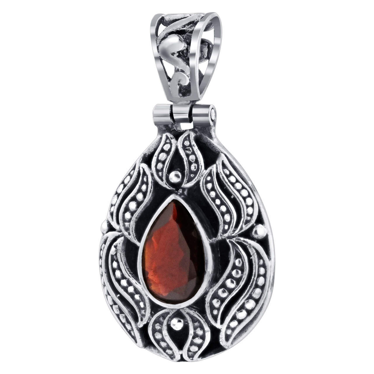 Teardrop Garnet January Birthstone 925 Sterling Silver Gemstone 0.75 x 1.5 inch Pendant
