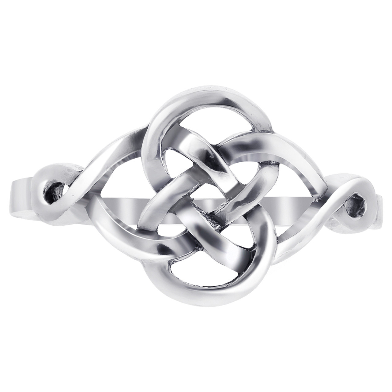 925 Sterling Silver Celtic Knot Design Rounded Ring