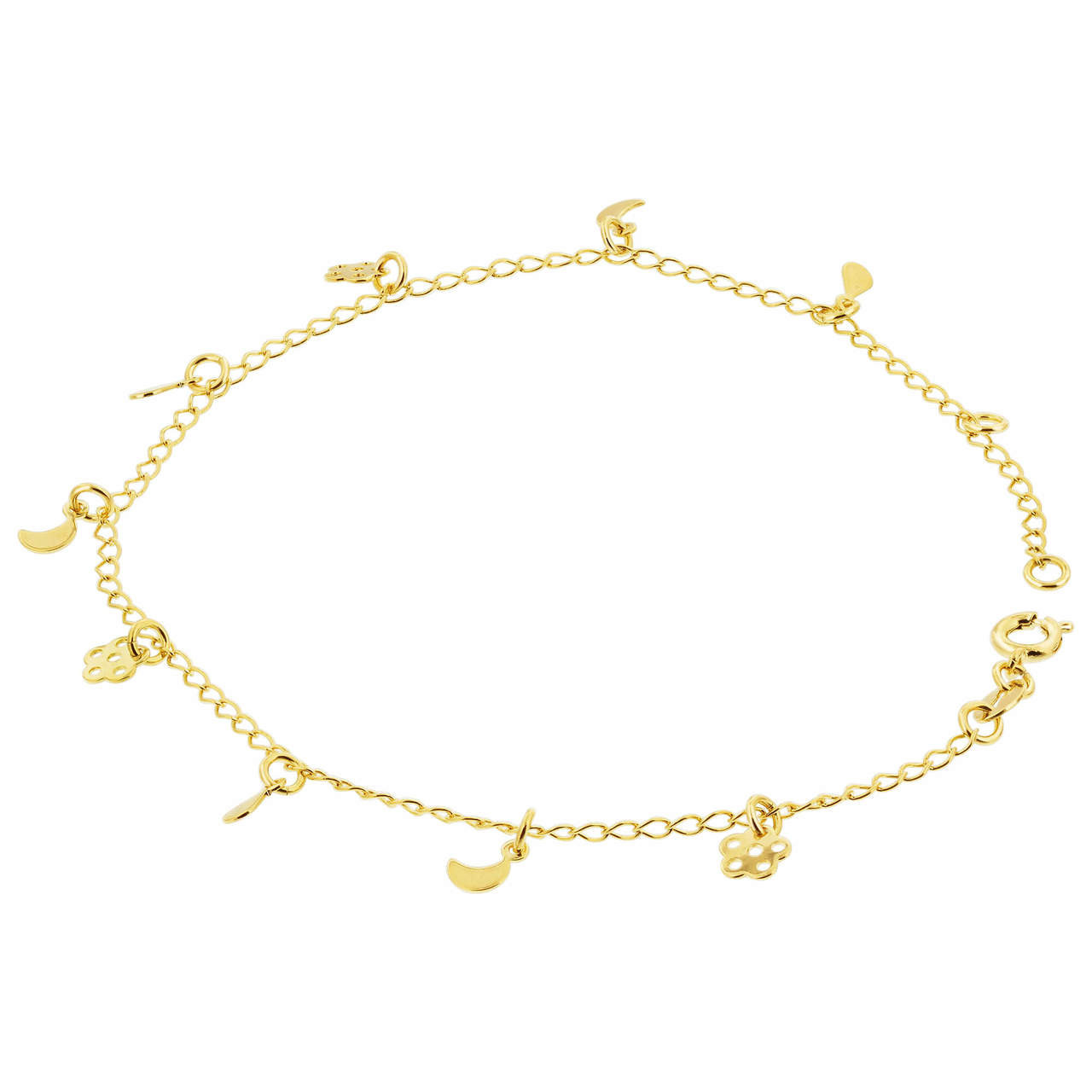 18k Gold Layered Crescent and Flower 2mm Chain Ankle Bracelet 9 to 10 inch