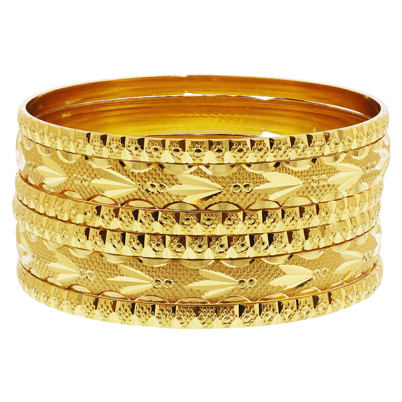 Carved Design Thick and Thin Bollywood Indian Bangle Bracelets Set