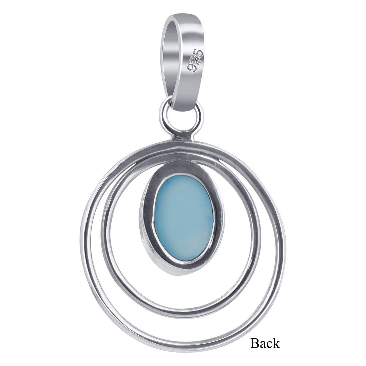 Sterling Silver Oval Aqua Chalcedony Gemstone Pendant