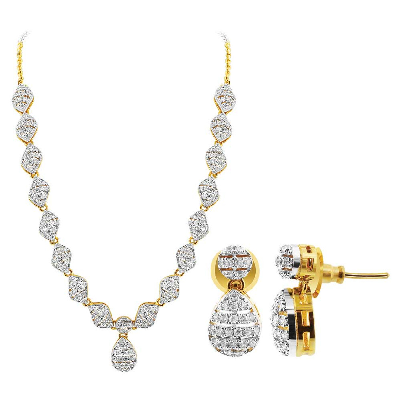 Gold Plated 2 Tone Design Cubic Zirconia Ethnic Bollywood Indian