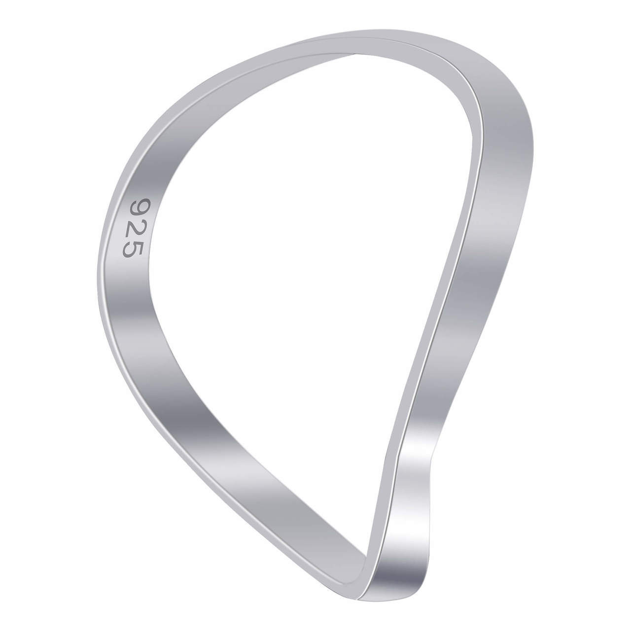 925 Sterling Silver Wave Plain 2mm Thumb Ring