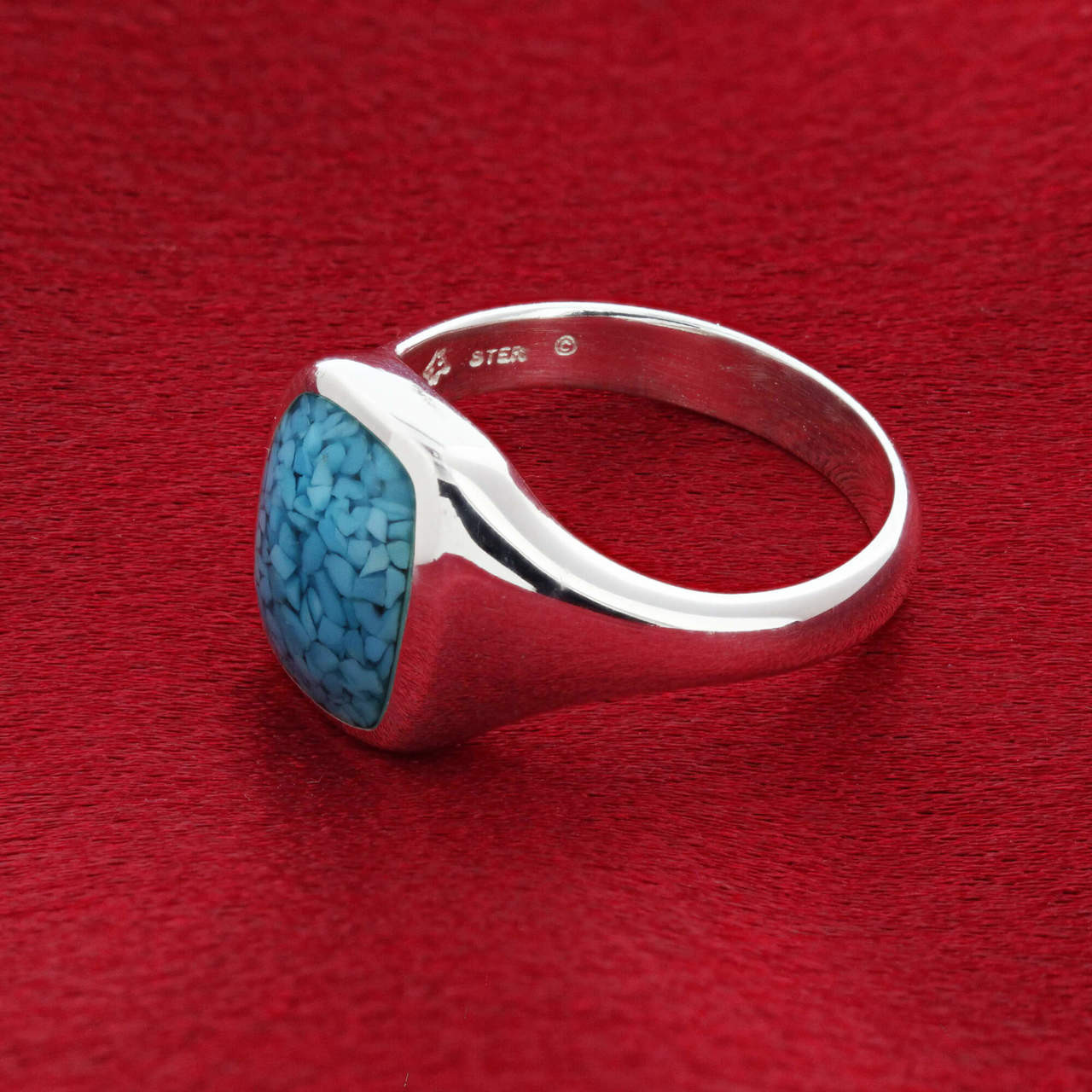 Men's Blue Turquoise Band Ring