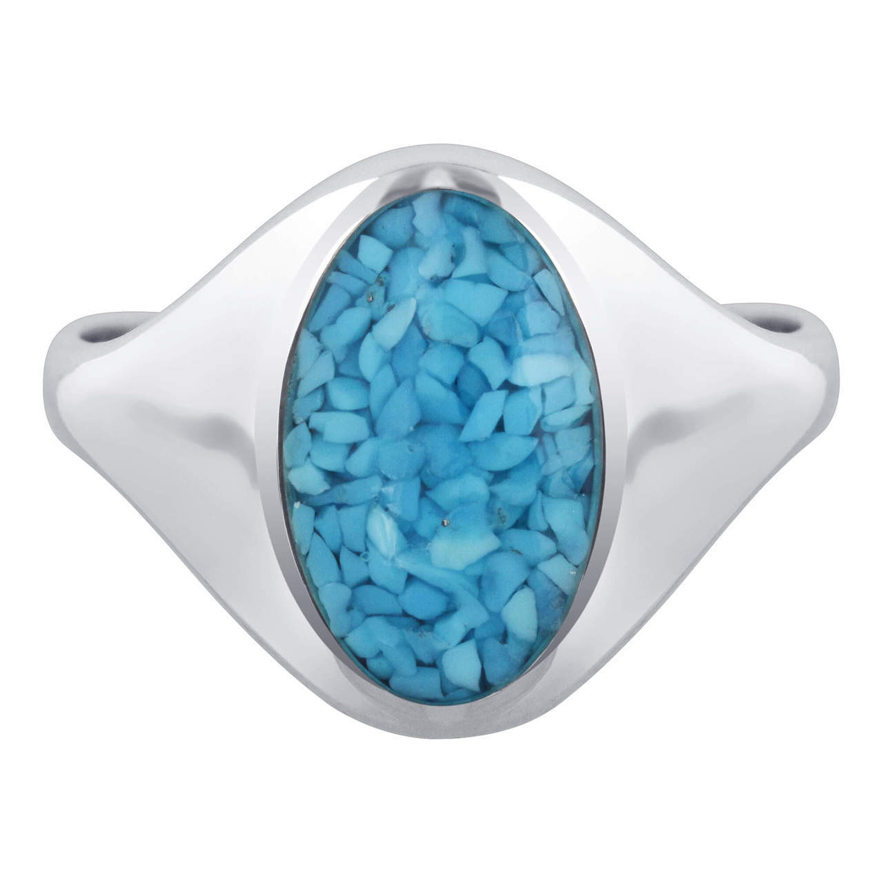 Men's 925 Silver Blue Turquoise Gemstone Oval Chip Inlay Band Ring