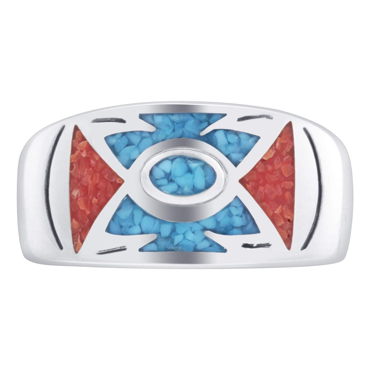 Sterling Silver Turquoise & Coral Gemstone Ring
