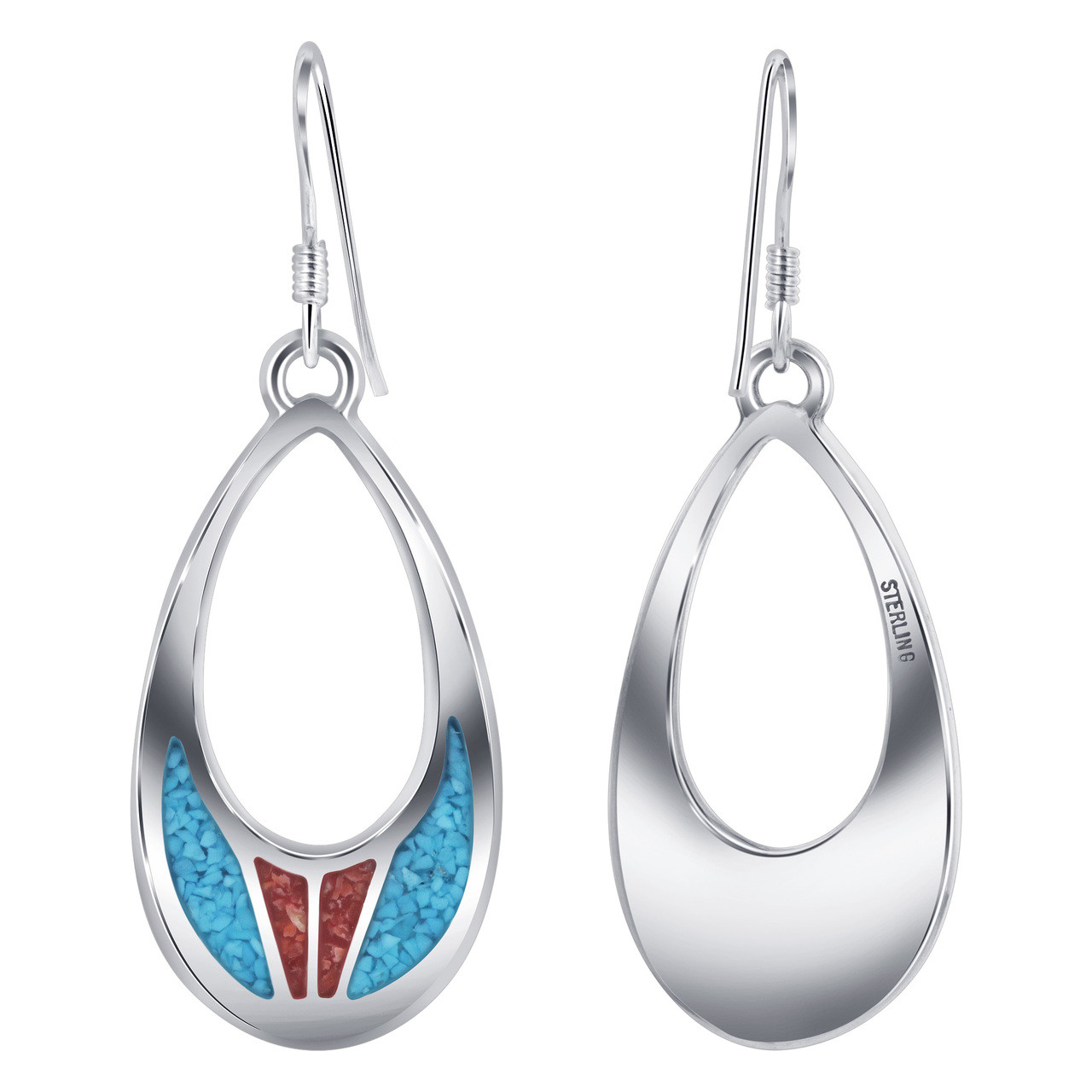Turquoise and Coral Gemstone Drop Earrings