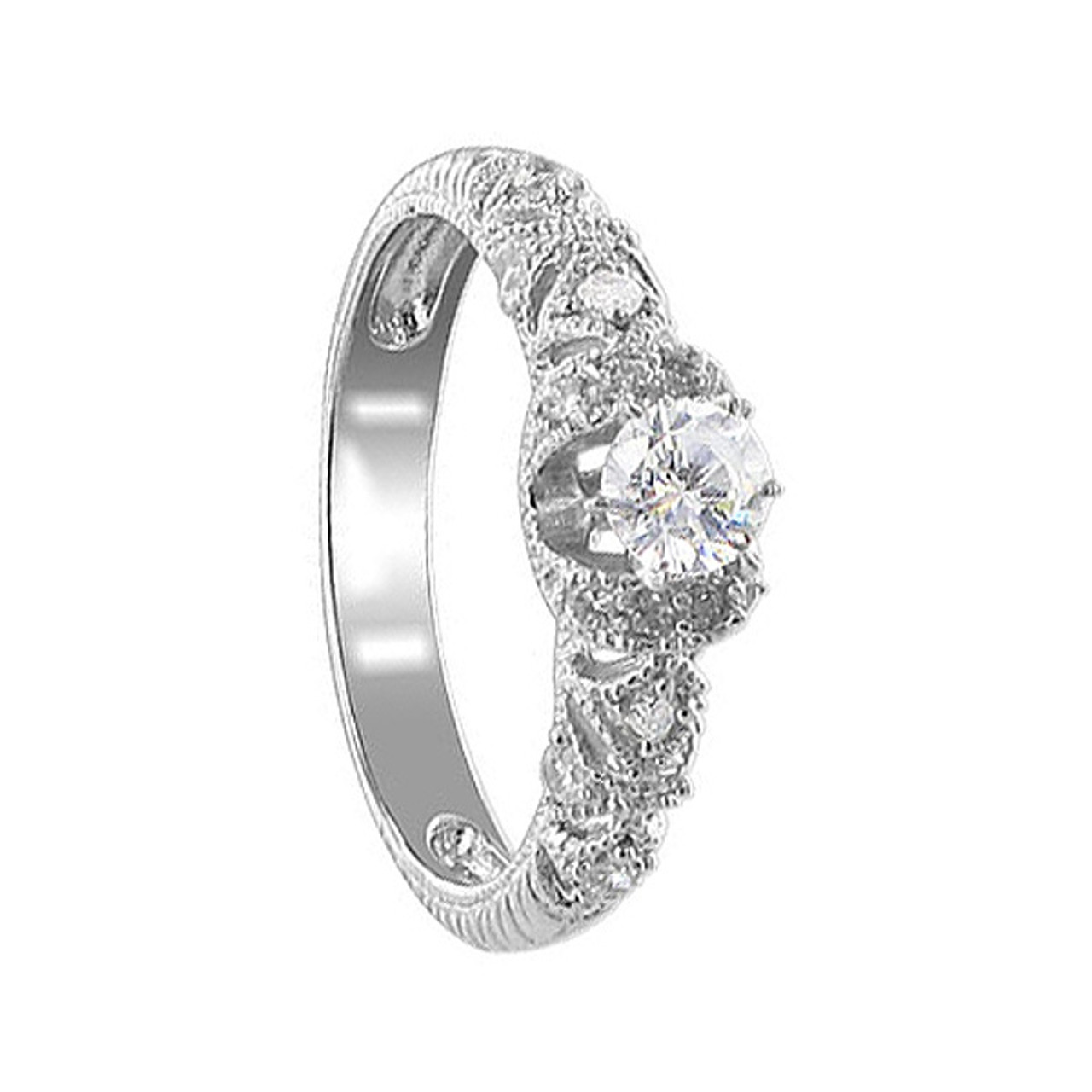 Sterling Silver 4mm Round CZ Designer Ring