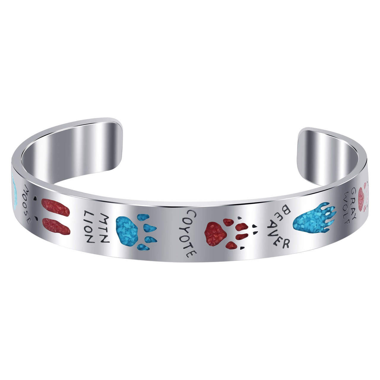 Turquoise and Coral Gemstone Cuff Bracelet