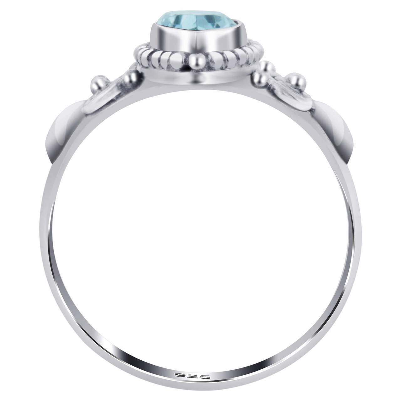 925 Silver Marquise Blue Topaz Gemstone Women's Ring