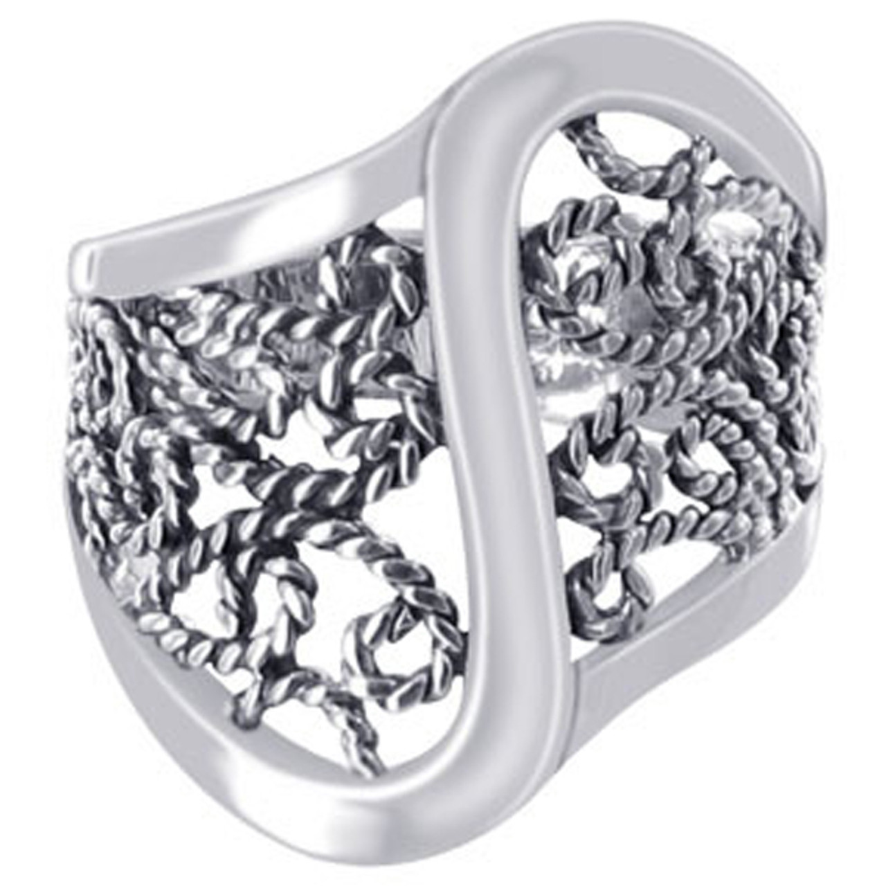 925 Sterling Silver Polished Finish Braided Ring #LWRS189