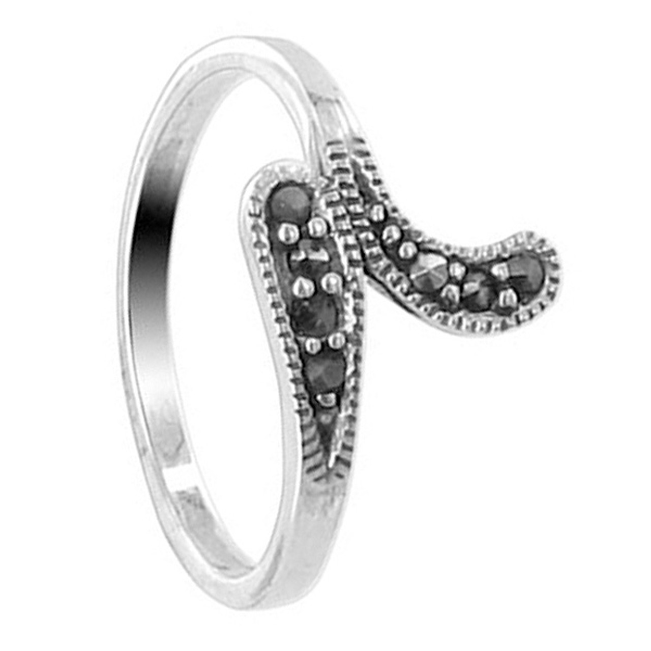925 Sterling Silver Marcasite 11mm Swirly Ring