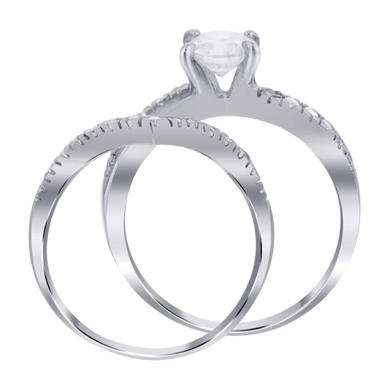 Cubic Zirconia Wedding Band Set