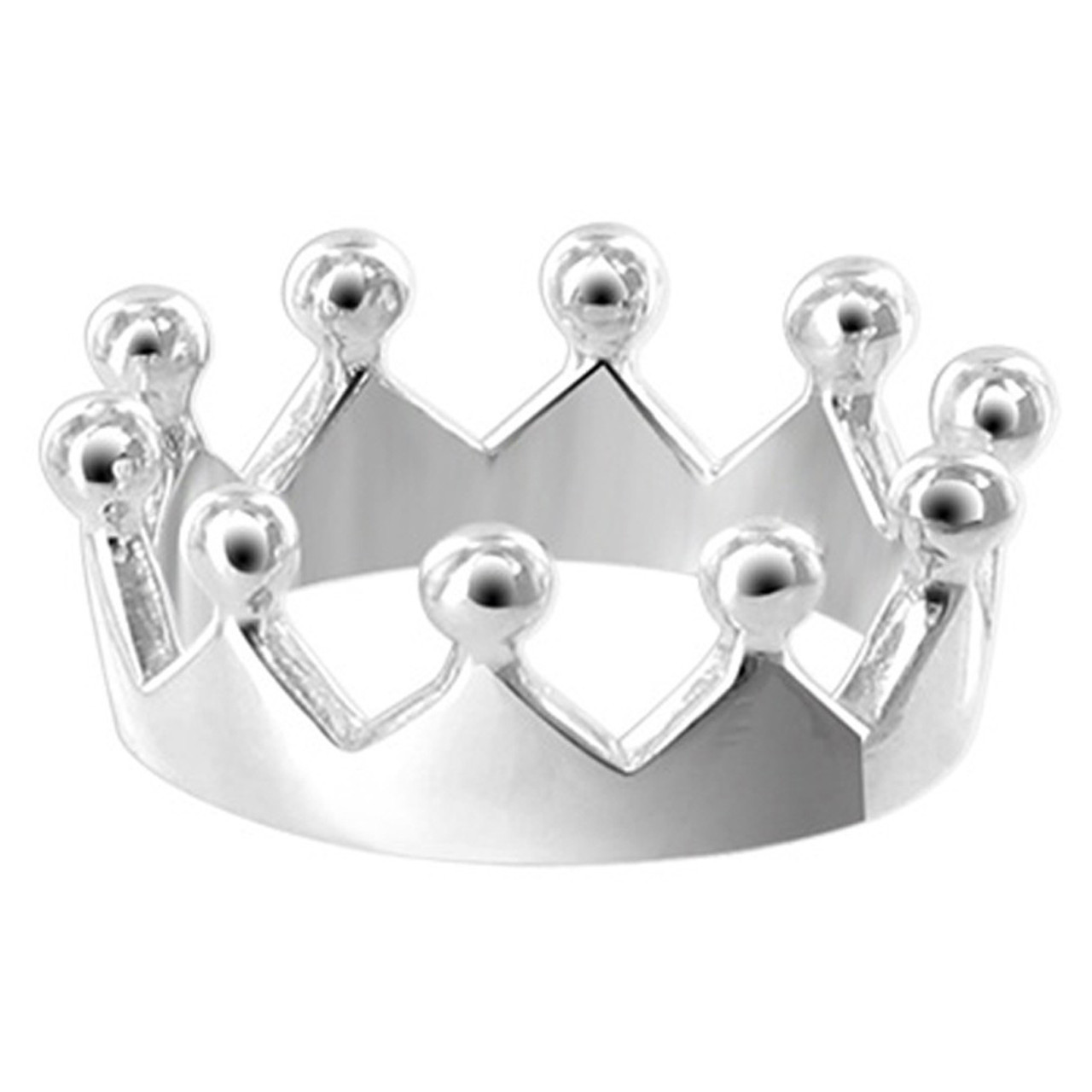 925 Sterling Silver Polished Finish 9mm Crown Ring #LWRS199