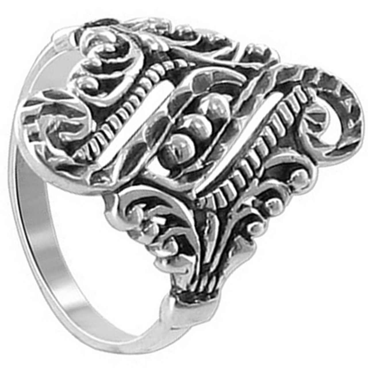 925 Sterling Silver Polished Finish 20mm Filigree Floral Design Front Ring