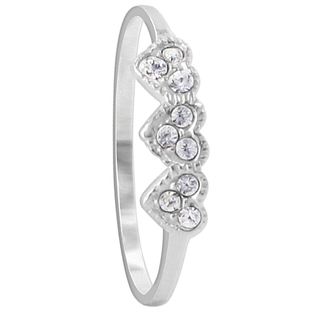 925 Sterling Silver Cubic Zirconia 4mm Front Hearts Ring