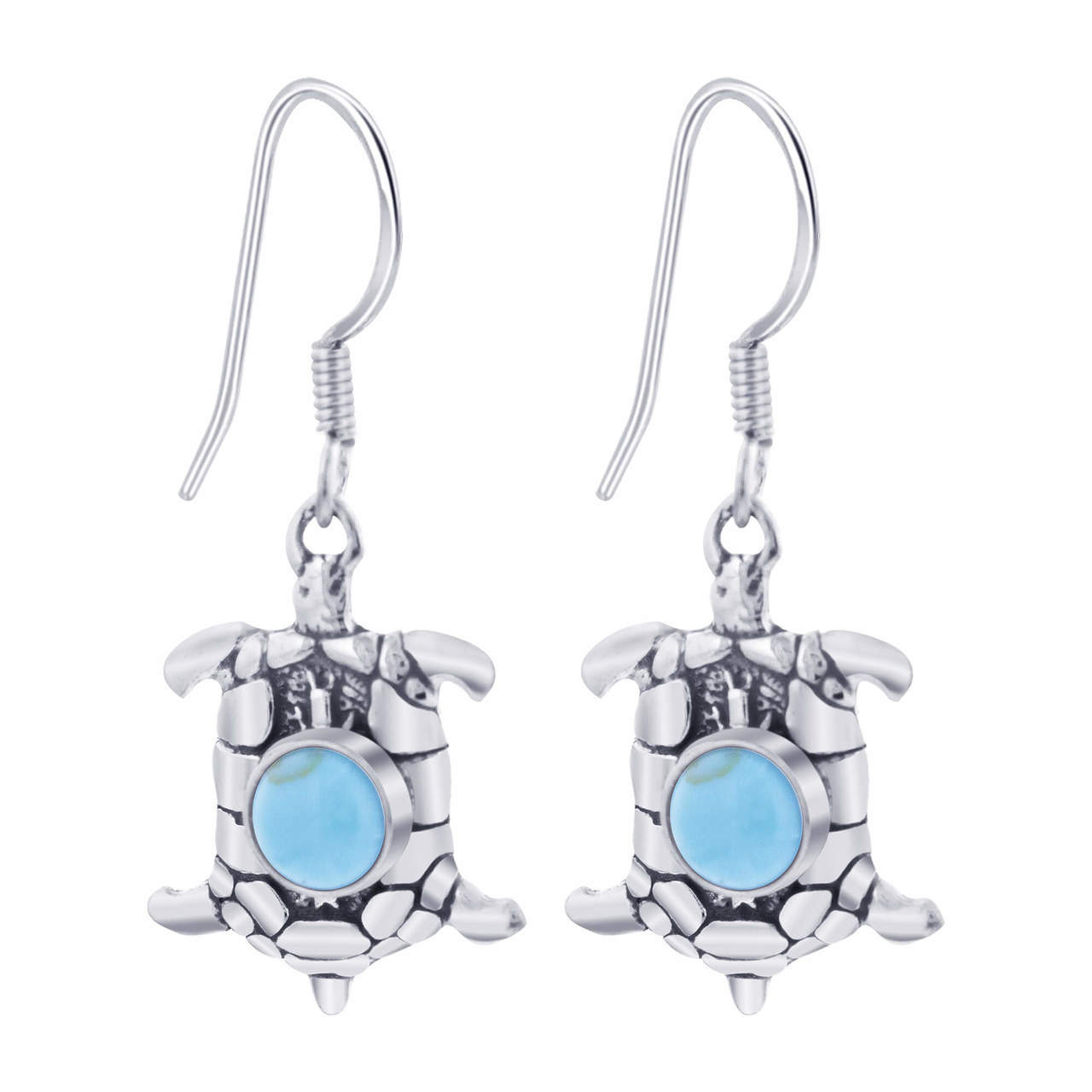 925 Silver Turquoise Turtle French wire Drop Earrings