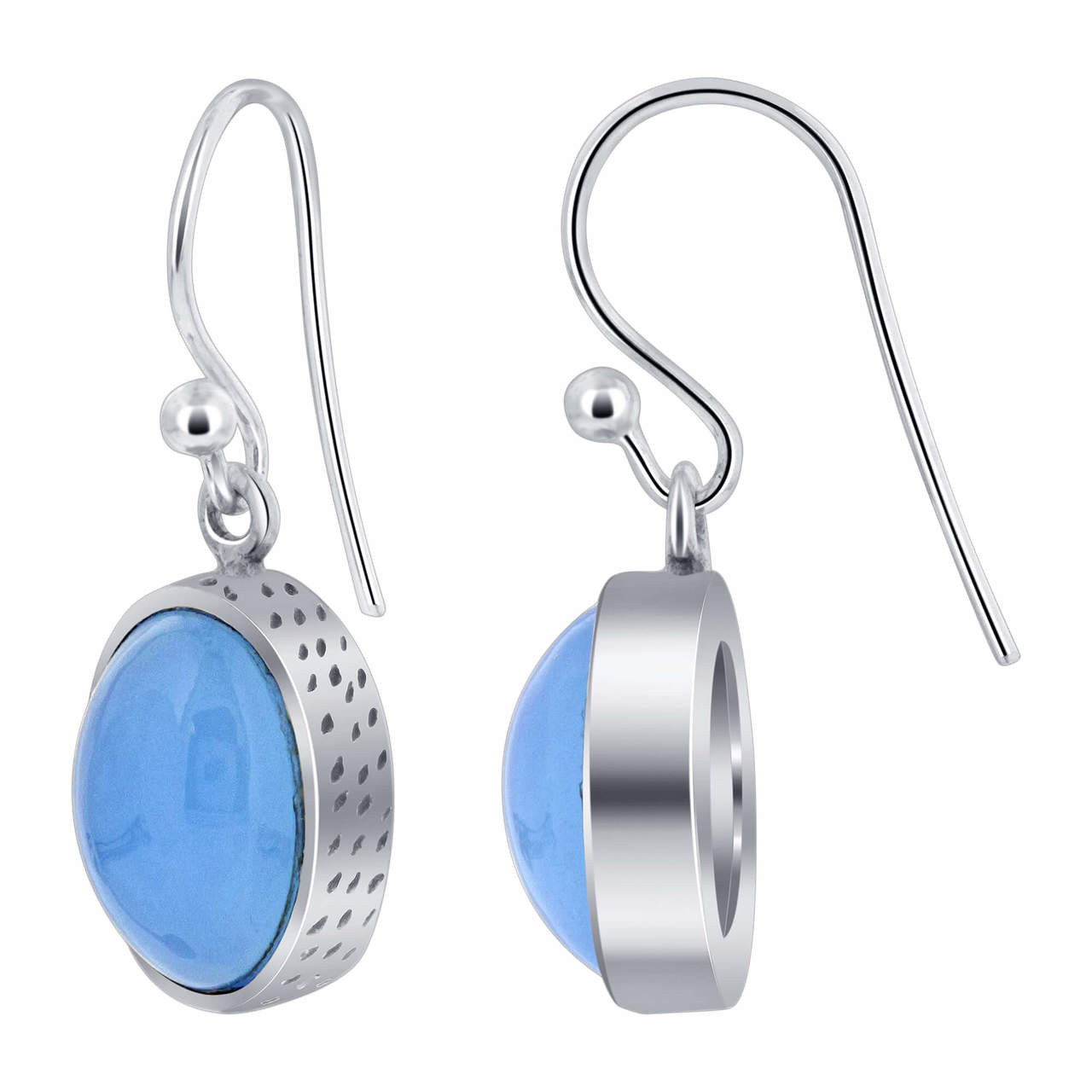 925 Silver Cabachon Oval Blue Chalcedony Drop Earrings