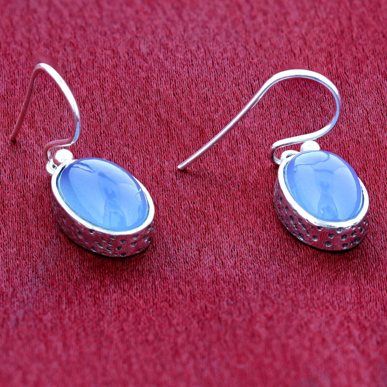 925 Sterling Silver Cabachon Oval Blue Chalcedony Gemstone Drop Earrings