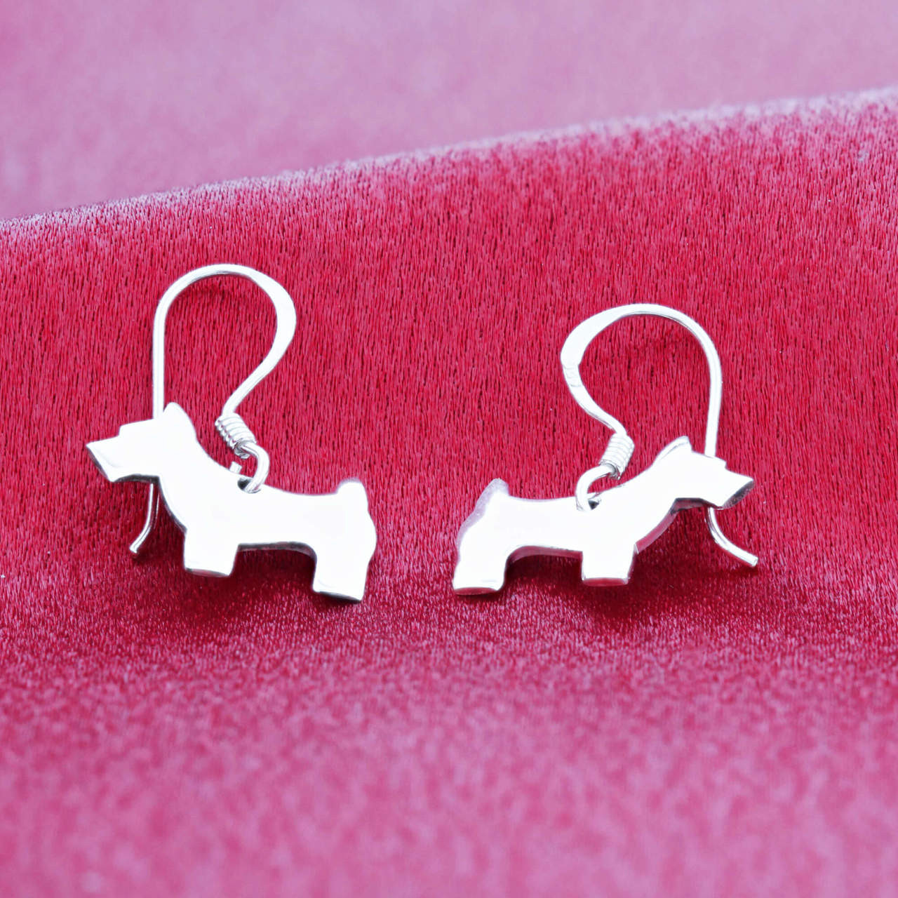 925 Silver Dog Dangle Earrings with French Wire Hook
