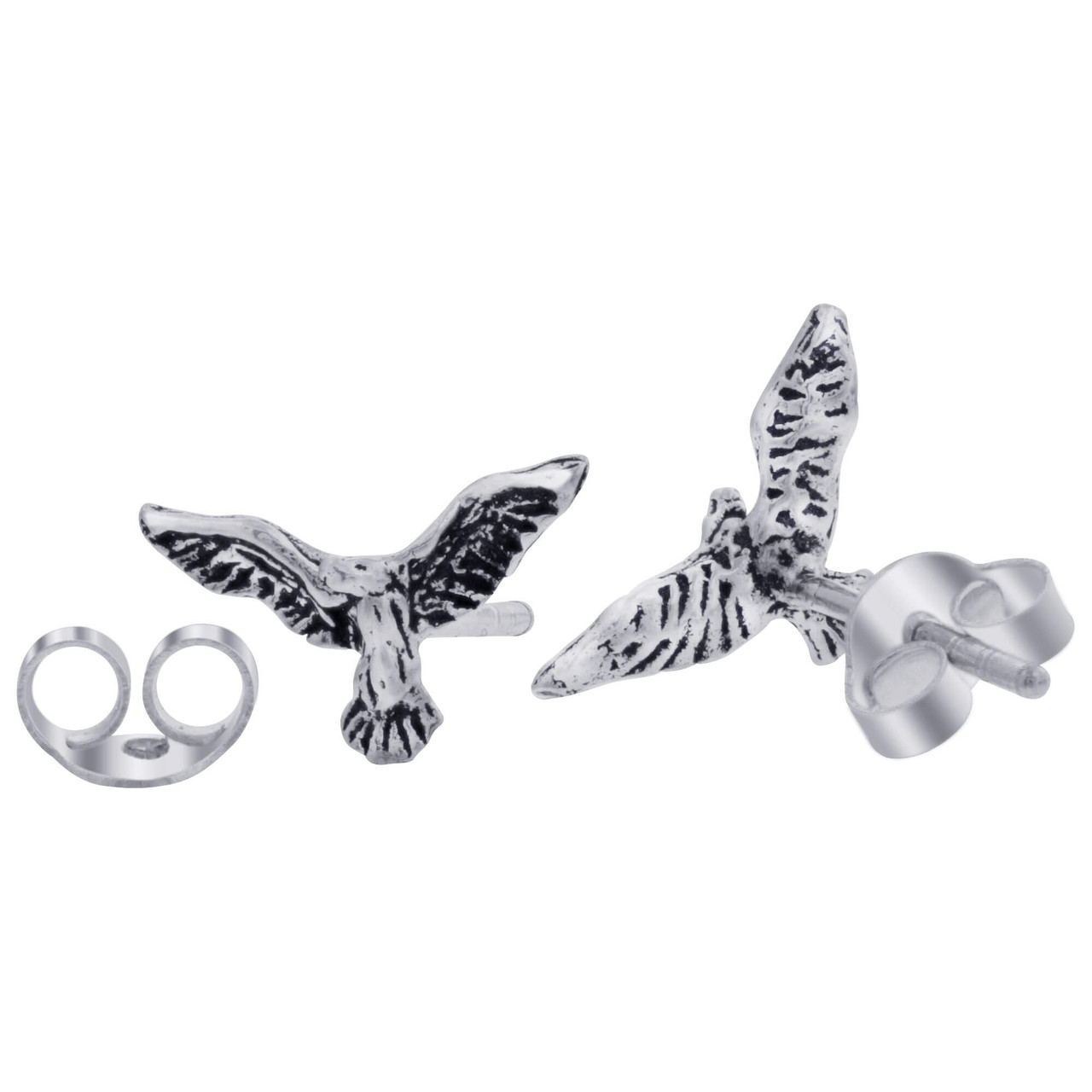 Sterling Silver Eagle Post back Stud Earrings