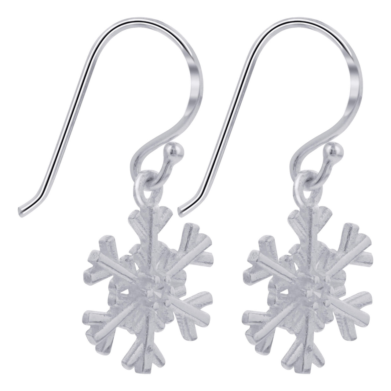 925 Sterling Silver Polished Snow Flake Dangle Earrings with French Hook