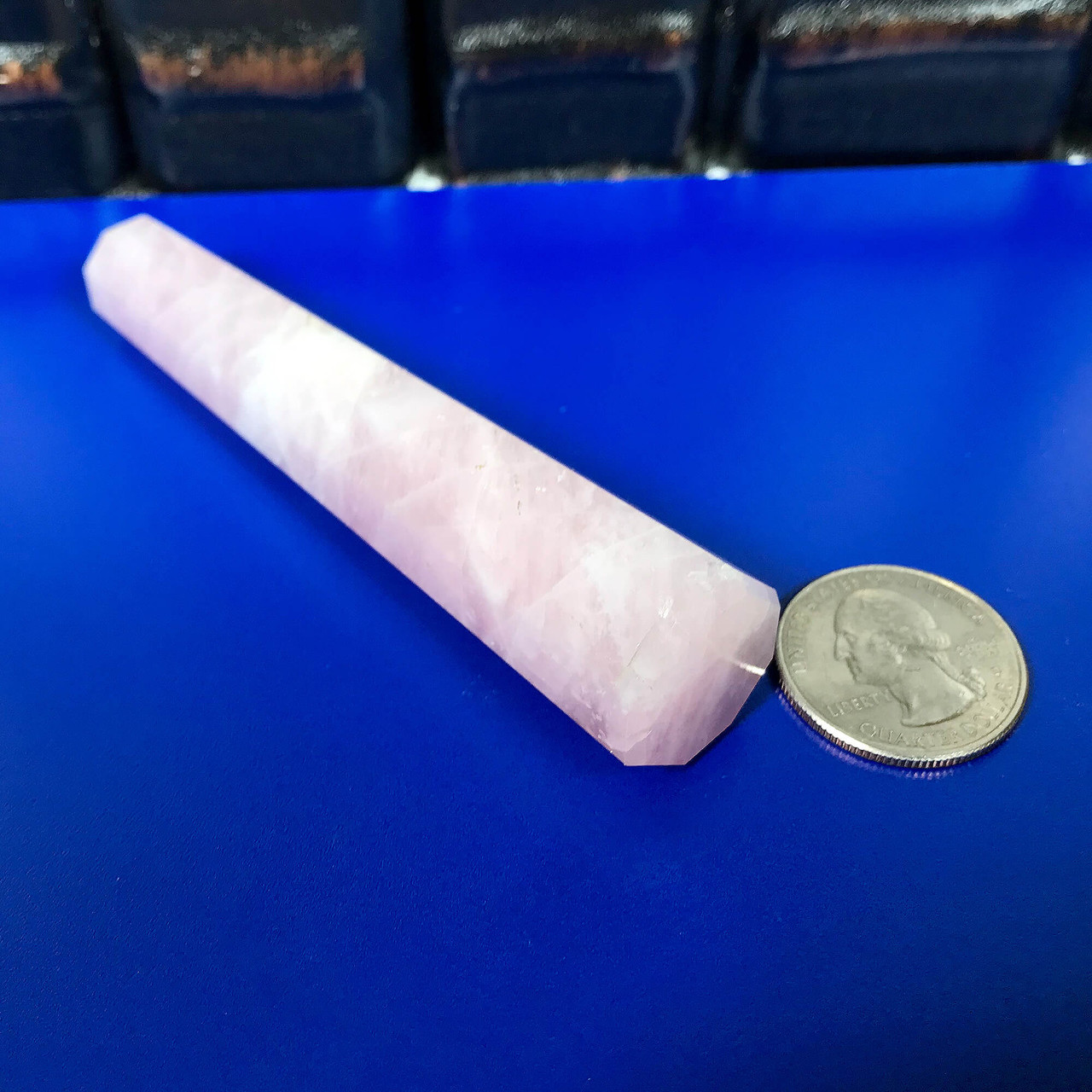 4 Inch Rose Quartz Obelisk Faceted Tower