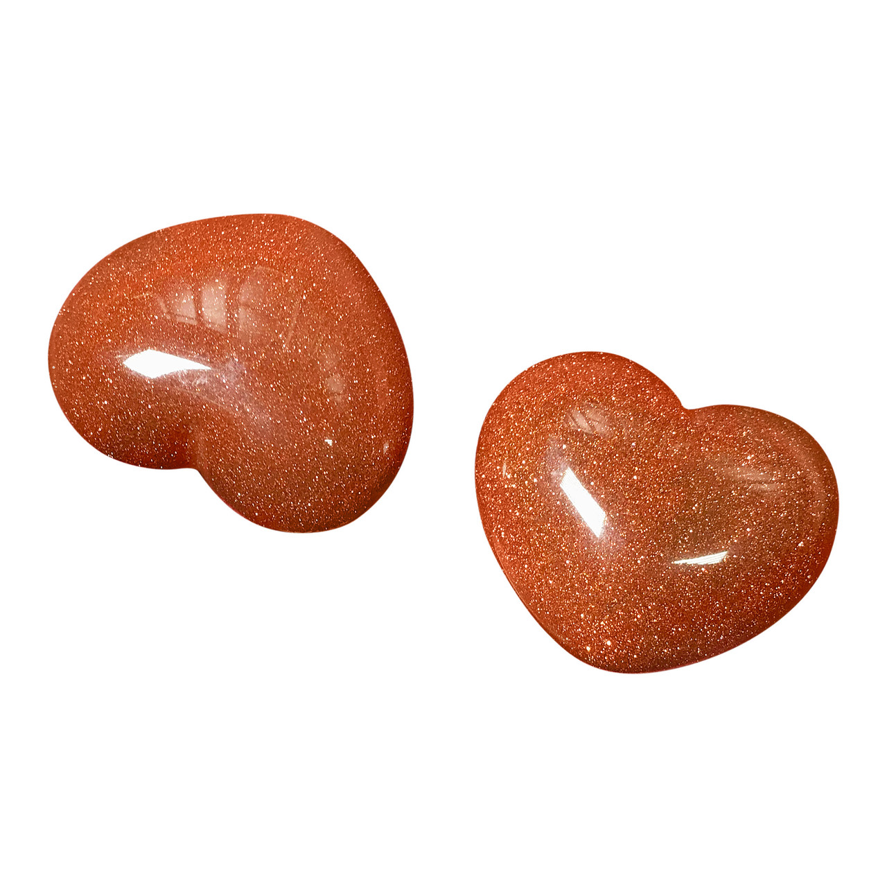 ONE Goldstone Collectible Heart Shape Palm Stone 1 x 1.5 Inch