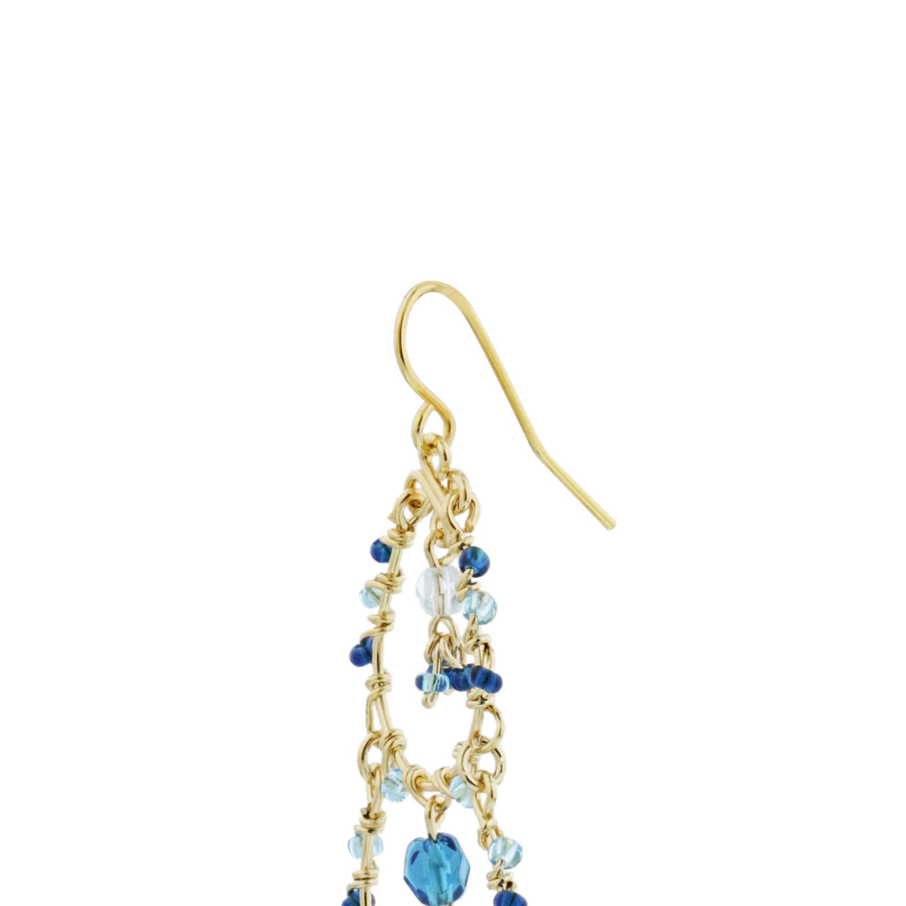 Blue Seed Bead Handmade 3.5 Inch Chandelier French Hook Earrings