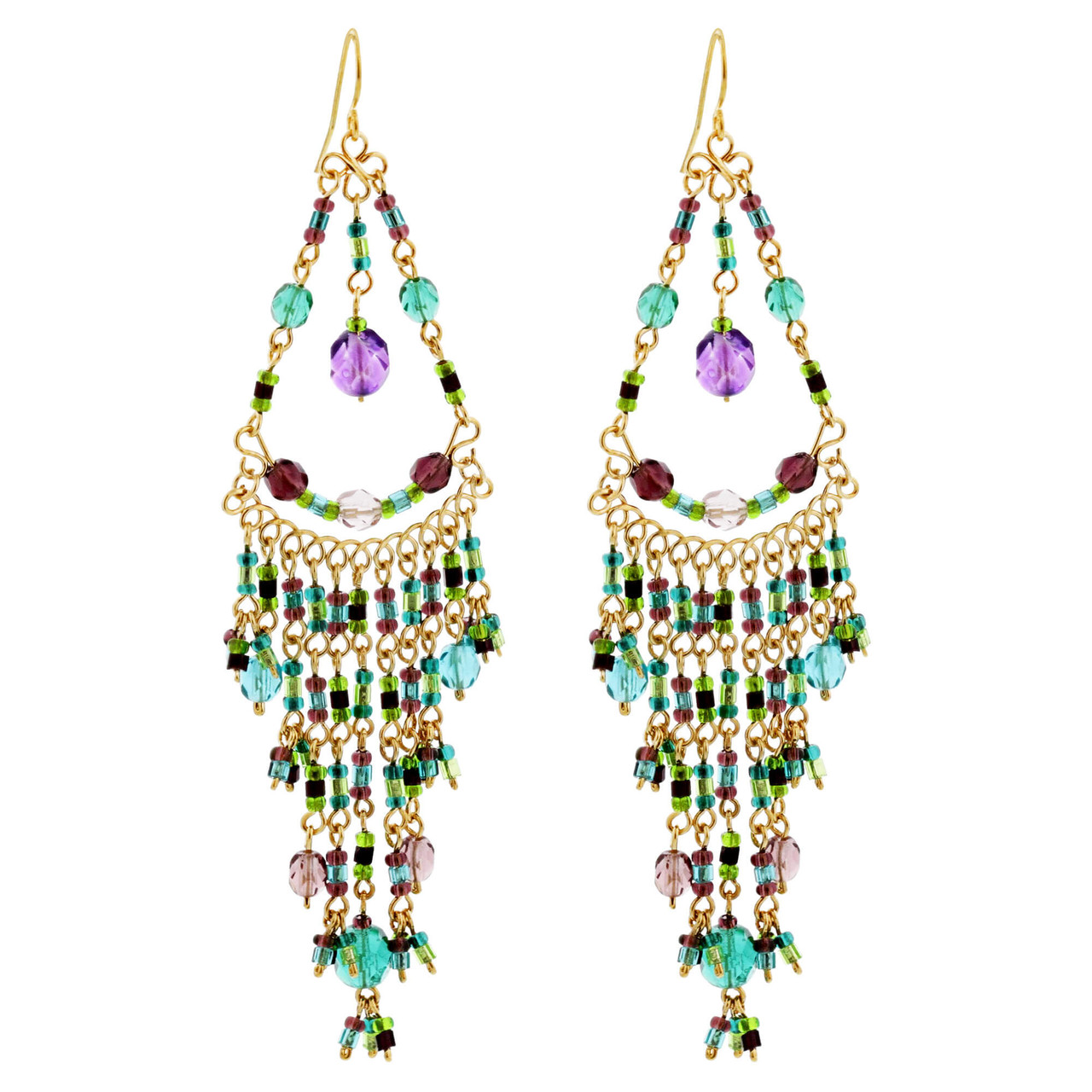"Multicolor Seed Bead Handmade 3.75"" Chandelier Earrings with French Hook"