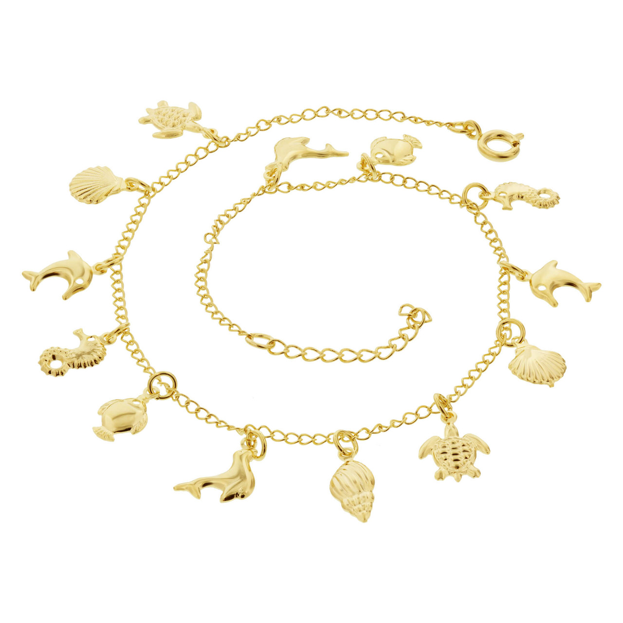 18k Gold Overlay Sea Life Foot Chain Anklet 10 to 11 Inch Adjustable