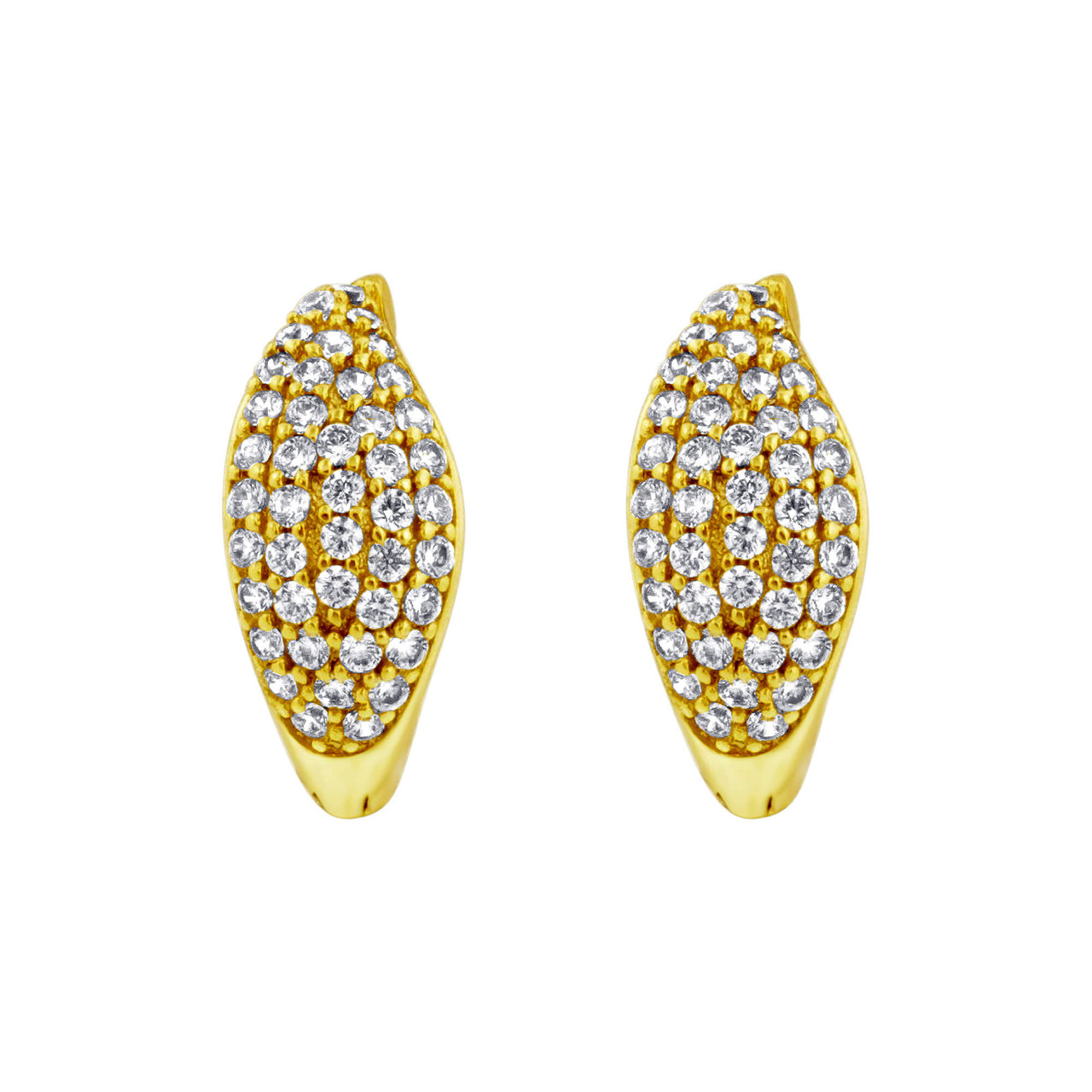 18K Gold Layered Clear Cubic Zirconia 14mm Huggies Earrings (14mm Diameter)