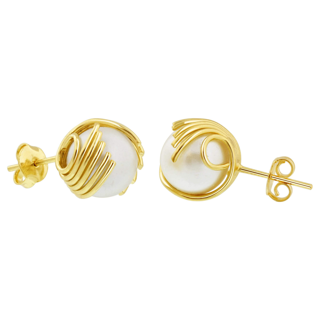 18K Gold Layered 10mm Simulated Faux Pearl Stud Earrings For Women