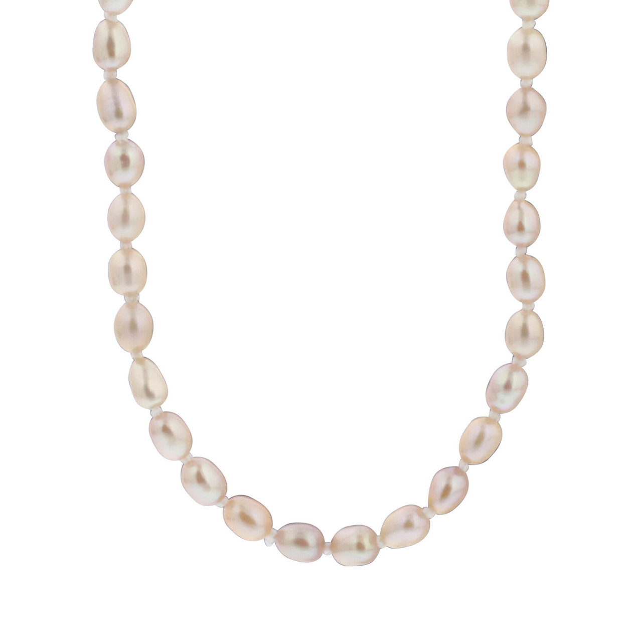 Pink Freshwater Pearl Stainless Steel 18 Inch Necklace
