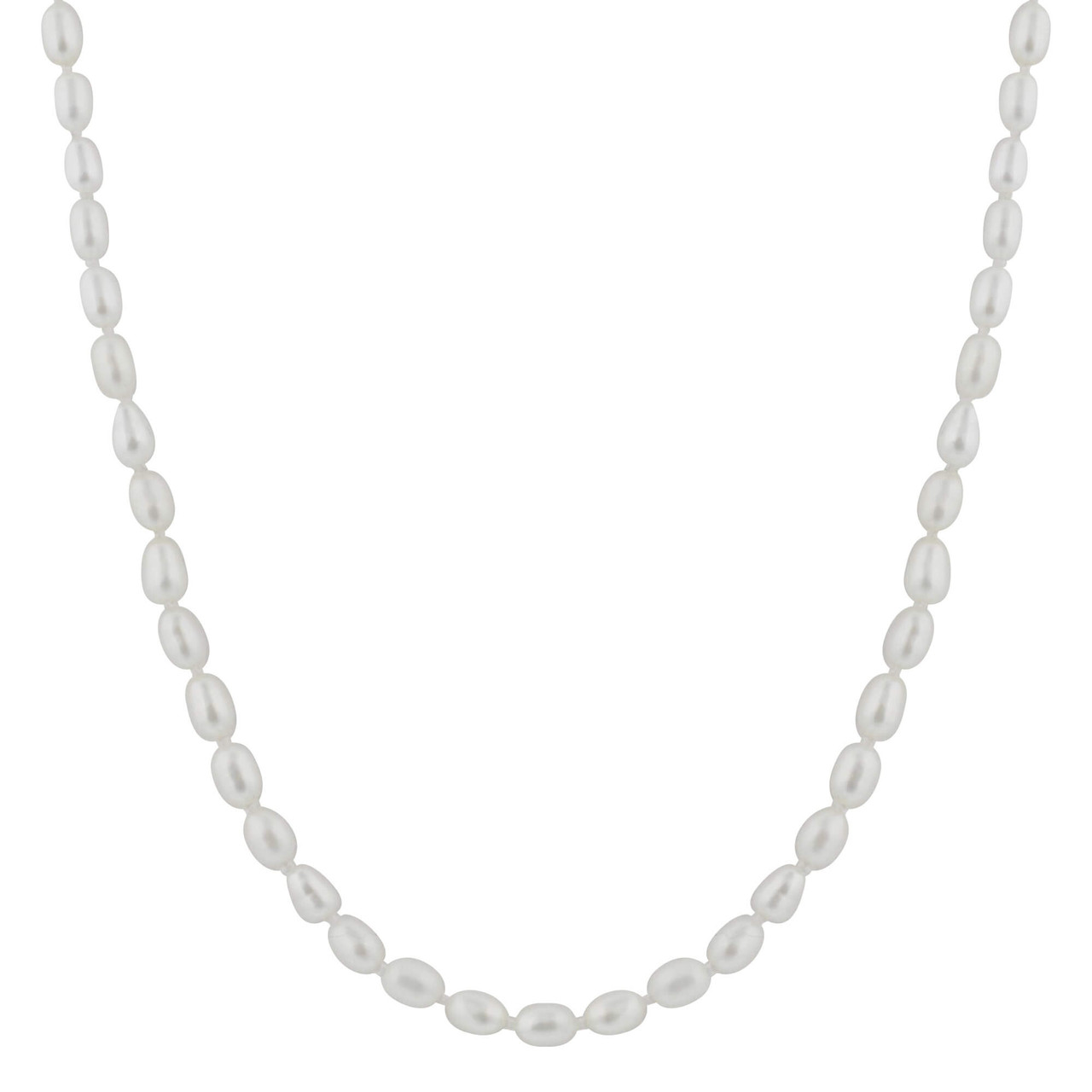 White Freshwater Pearl Stainless Steel 18 Inch Necklace