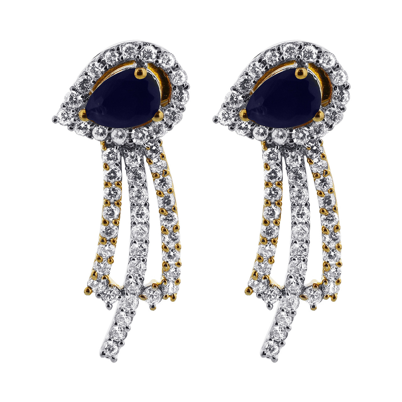 Gold Plated Blue Sapphire with CZ accents Bollywood Indian Jewelry Set