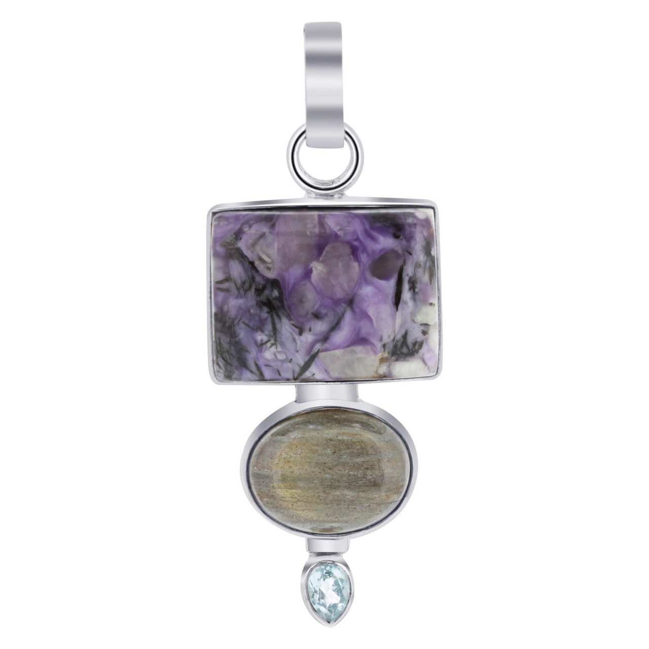 925 Sterling Silver Blue Topaz Gemstone Pendant