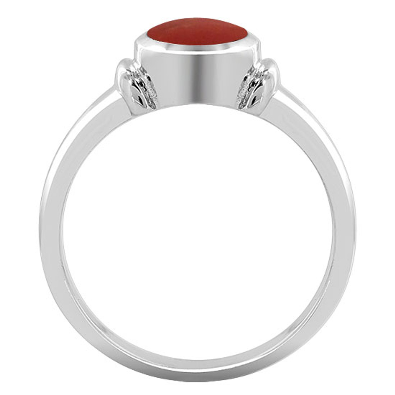 Sterling Silver Coral Oval Solitaire Ring