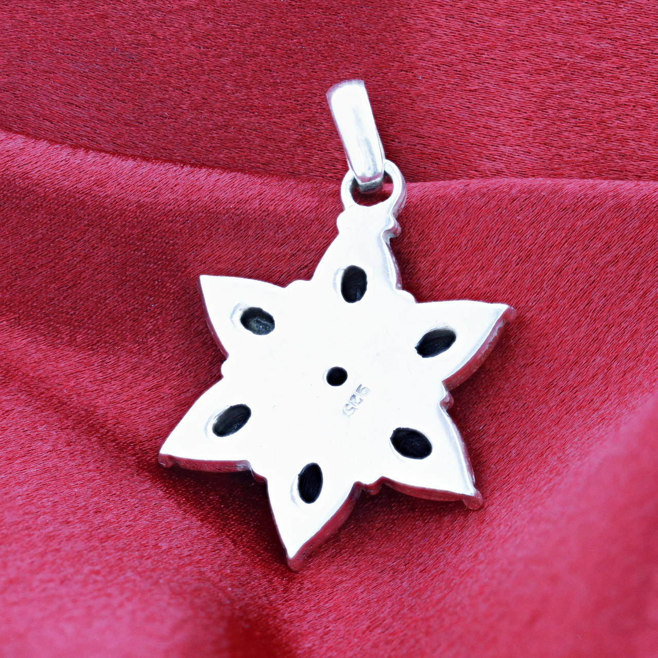 Sterling Silver Floral Star 10 CTW Lolite Gemstone Pendant