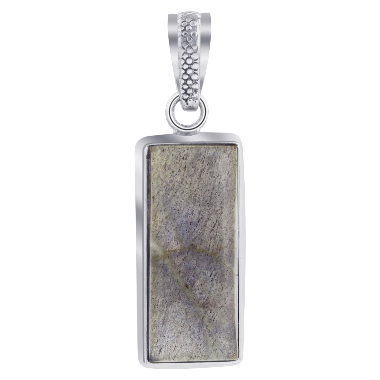 925 Sterling Silver Rectangular Blue Stone Pendant